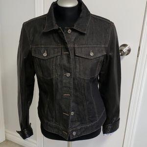 Black denim jacket with leather sleeves